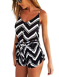 Women's Mid Rise Going out Casual/Daily Holiday Rompers,Sexy Simple Cute Loose Stripe Geometric All Seasons Spring Summer Fall Winter