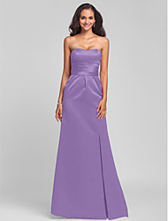 Sheath / Column Strapless Sweetheart Sweep / Brush Train Satin Bridesmaid Dress with Sash / Ribbon Split Front by LAN TING BRIDE®