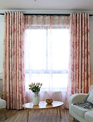Two Panels European Pastoral Style Jacquard Craft Living Room Bedroom Curtains