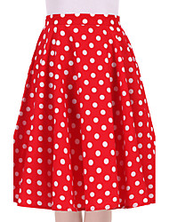 cheap -Women's Cotton Swing Skirts - Polka Dot