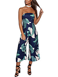 cheap -Women's High Rise JumpsuitsSexy Vintage Boho Slim Wide Leg Backless Print Fashion Off-The-Shoulder