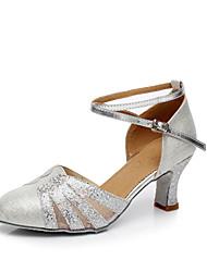 Women's Dance Shoes Paillette Modern Heels Heel Performance Leopard Blue Silver Gold Customizable