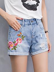 baratos -Mulheres Cintura Alta Delgado Shorts Jeans Calças Estampado