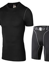 Per uomo T-shirt e pantaloncini da corsa Manica corta Traspirante Comodo Tuta da ginnastica per Yoga Esercizi di fitness Corsa Tessuto