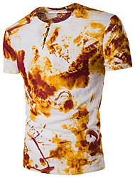 cheap -Men's Daily Sports Street chic T-shirt,Floral Print V Neck Short Sleeves Polyester