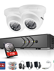 baratos -annke® 4ch 2pcs tvi 720p monitor de vídeo ip rede cctv ahd dvr p2p camera home surveillance security system