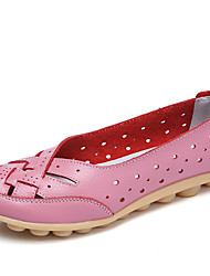 cheap -Women's Loafers & Slip-Ons Summer Fall Moccasin Comfort Leather Casual Flat Heel Light Green Light Blue Blushing Pink Red Yellow