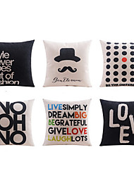 6 pcs High Quality Linen Pillow Case Body Pillow Travel Pillow Sofa Cushion Novelty PillowNature Polka Dots Graphic Prints Quotes & Sayings