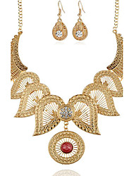 cheap -Women's Synthetic Diamond Hollow Out Jewelry Set - Flower Vintage Include Necklace / Earrings Gold / Silver For Party / Special Occasion / Gift