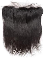 Недорогие -8inch braizlian закрывающие прямые кружева фронтальная лучше девственные бразильские укупорочные человеческих волос свободный / средний