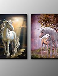 Stampa trasferimenti su tela Animali Classico,Due Pannelli Tela Orizzontale Stampa Decorazioni da parete For Decorazioni per la casa
