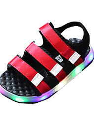 cheap -Boys' Sandals Comfort PU Spring Summer Casual Comfort LED Flat Heel Black Ruby Blue Flat