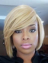 Classical Bob Natural Wave Blonde Capless Cap Human Hair Wig With Side Bangs For Women 2017