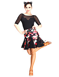 cheap -Latin Dance Tutus & Skirts Women's Performance Lace / Tulle / Velvet Lace Natural Skirt