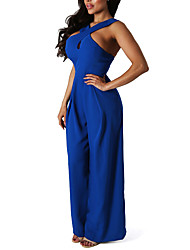 cheap -Women's Daily Going out Club Casual Sexy Solid Halter Jumpsuits,Wide Leg Sleeveless Spring Summer Polyster