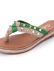 preiswerte -Damen Schuhe PU Frühling / Sommer Gladiator / Komfort Sandalen Flacher Absatz Offene Spitze Niete / Geflochtene Riemchen für Kleid Rot /