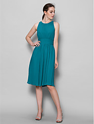 cheap -A-Line Scoop Neck Knee Length Georgette Bridesmaid Dress with Draping Ruched by LAN TING BRIDE®