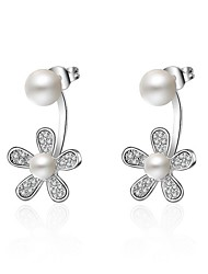 cheap -Women's Stud Earrings Flower Style Flowers Floral Hypoallergenic Imitation Pearl Platinum Plated Flower Jewelry For Party Gift Valentine