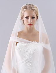 Véus de Noiva Duas Camadas Véu Ponta dos Dedos Peça para Cabeça com Véu Corte da borda Tule