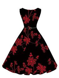 baratos -Mulheres Feriado Vintage / Moda de Rua balanço Vestido Bordado Altura dos Joelhos