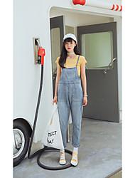economico -Da donna A vita alta Romantico Casual Media elasticità Largo Jeans Tuta da lavoro Pantaloni,Tinta unita Autunno