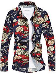 Недорогие -Для мужчин Повседневные Пляж  Лето Рубашка Рубашечный воротник,На каждый день Активный Полоски Цветочный принт Галактика Длинный рукав,