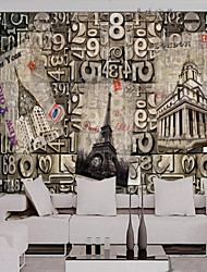 cheap -Art Deco Solid Wallpaper For Home Retro Wall Covering  Canvas Material Adhesive required Wallpaper  Room WallcoveringXXXL(416*254cm)