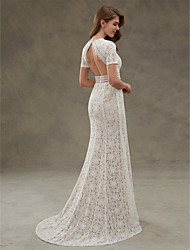 cheap -Sheath / Column Jewel Neck Floor Length Sheer Lace Made-To-Measure Wedding Dresses with Draping / Lace / Sash / Ribbon by LAN TING BRIDE®
