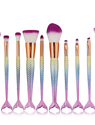 cheap -high quality mermaid 10pcs pro makeup brushes set foundation blending powder contouring concealer blush comestic beauty make up