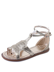 Women's Sandals Toe Ring PU Summer Casual Walking Toe Ring Buckle Low Heel Gold White Black Silver 2in-2 3/4in
