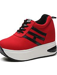 Homme-Extérieure / Sport-Noir / Rouge-Talon Compensé-Confort-Sneakers-Similicuir