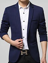 Blazer Pour des hommes Couleur plaine Décontracté / Travail Coton / Acrylique / Nylon Manches longues Noir / Bleu / Rouge / Beige