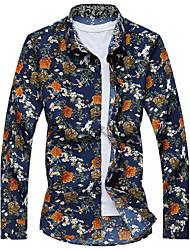 Men's Casual/Daily Beach Simple Active Summer Shirt,Striped Galaxy Shirt Collar Long Sleeve Cotton Rayon Thin