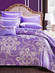 cheap -Duvet Cover Sets Floral 4 Piece Silk/Cotton Blend Jacquard Silk/Cotton Blend 4pcs (1 Duvet Cover, 1 Flat Sheet, 2 Shams)