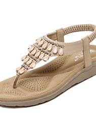 cheap -Women's Shoes PU(Polyurethane) Spring / Summer Comfort / Light Soles Sandals Walking Shoes Wedge Heel Round Toe Rhinestone / Gore Black / Almond