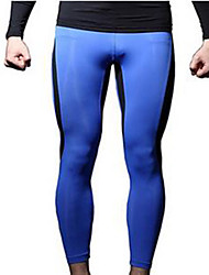 Men's Running Tights Gym Leggings Breathable Leggings for Exercise & Fitness Running Polyester Green and Black Black/Red Blue+Yellow L XL