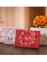 Top Fold Wedding Invitations 50-Invitation Cards Flora Style Butterly Style Card Paper High quality paper Card paper Hard Card Paper