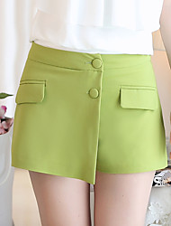 Women's High Rise Micro-elastic Chinos Shorts Pants,Simple Slim Beaded Layered Solid