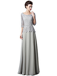 cheap -Sheath / Column Scalloped Sweep / Brush Train Chiffon Lace Formal Evening Dress with Lace by Sarahbridal