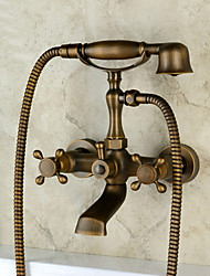 cheap -Antique Traditional Country Wall Mounted Handshower Included Widespread Ceramic Valve Two Holes Three Handles Two Holes Antique Copper ,