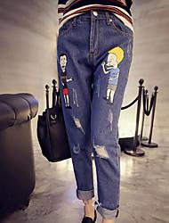Damer Enkel Mikroelastisk Tynd Jeans Bukser,Alm. taljede Trykt mønster