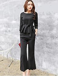 abordables -Mujer Chic de Calle Sofisticado Noche Trabajo Fiesta/Cóctel Camisas Pantalón Trajes,Escote Redondo Un Color