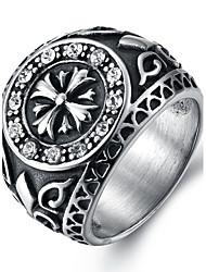 cheap -Men's Ring Statement Ring Crystal White Black Titanium Steel Round Personalized Euramerican Hip-Hop Fashion Rock Punk Christmas Gifts