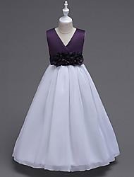 abordables -vestido de fiesta de la muchacha de flor del vestido del vestido de bola - organza sin mangas v-cuello con la flor de ydn