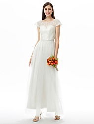 cheap -A-Line Jewel Neck Ankle Length Lace Tulle Bridesmaid Dress with Sash / Ribbon by LAN TING BRIDE®