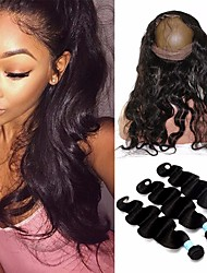 cheap -8A Indian Body Wave 360 Frontal With Bundles 360 Lace Frontal Closure With Bundles Human Hair