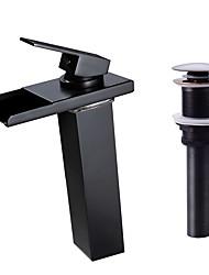 baratos -Moderna Clássica Conjunto Central Cascata LED Válvula Cerâmica Monocomando e Uma Abertura Bronze Polido a Óleo, Faucet Set