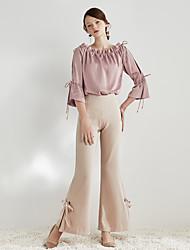 abordables -Mujer Vintage Ajustado a la Bota Chinos Pantalones - Un Color