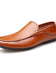 Men's Shoes Cowhide Summer Fall Comfort Moccasin Loafers & Slip-Ons Walking Shoes Ruched For Casual Office & Career Party & Evening White