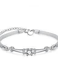 Dámské Řetězové & Ploché Náramky imitace Diamond DIY Postříbřené Circle Shape Šperky ProSvatební Párty Zvláštní příležitosti Narozeniny